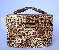 Шкатулка женская для ювелирных украшений и бижутерии 18*13*15 см леопард бежевая, фото 1