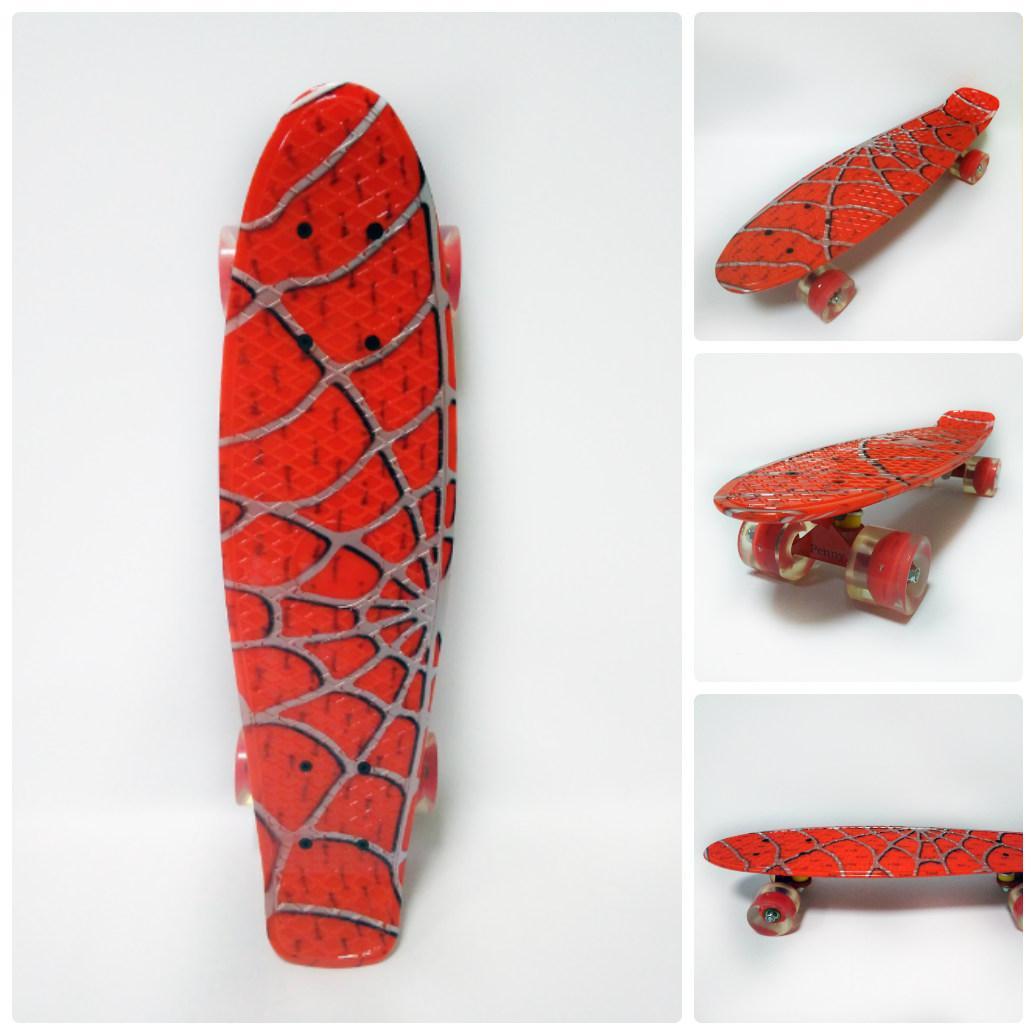 Пенни борд Спайдер Мен светящиеся колеса (Penny board Spider улучшенная подвеска PU, ABEC 9, PU light колеса)