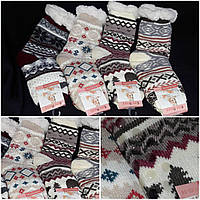 Носки женские теплые на зиму со стопперами, искусственный мех, разные расцветки, 35-38 р-ры, 205/143