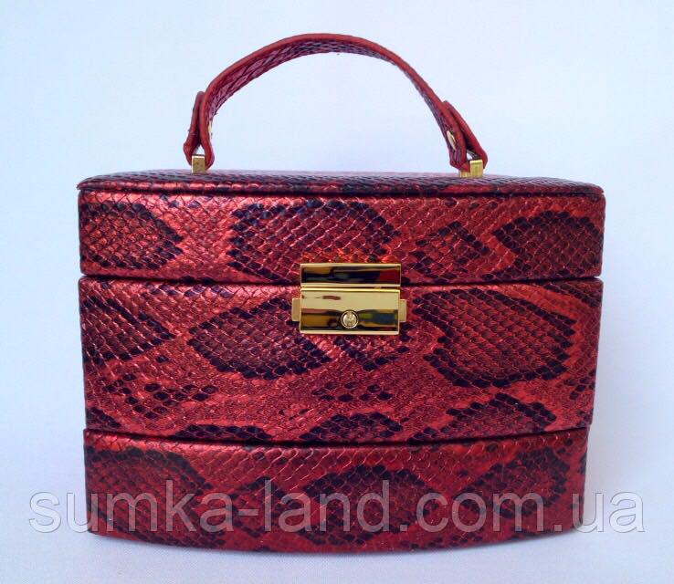 Женская красная шкатулка для ювелирных украшений и бижутерии 18*13*15 см питон с металлическим блеском
