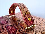Женская розово-золотая шкатулка для ювелирных украшений и бижутерии 18*13*15 см питон с металлическим блеском, фото 2