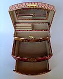 Женская розово-золотая шкатулка для ювелирных украшений и бижутерии 18*13*15 см питон с металлическим блеском, фото 3