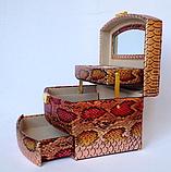 Женская розово-золотая шкатулка для ювелирных украшений и бижутерии 18*13*15 см питон с металлическим блеском, фото 4