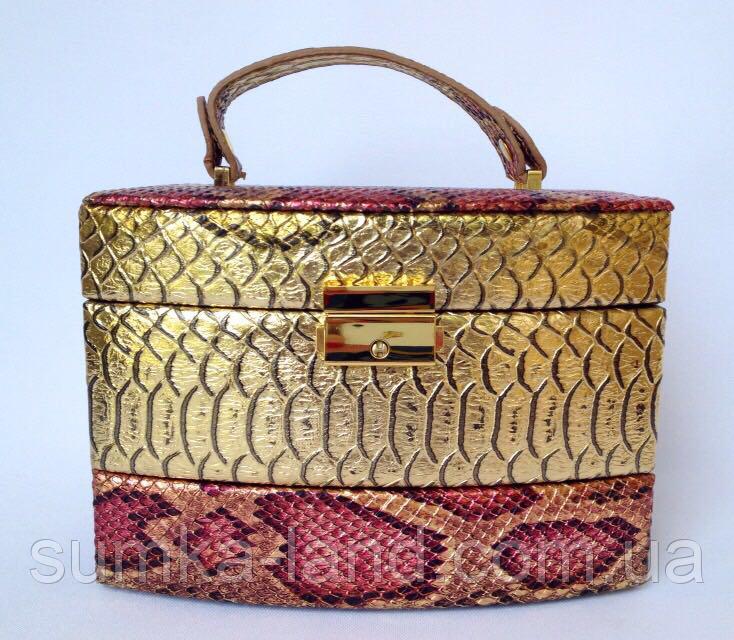 Женская золотая шкатулка для ювелирных украшений и бижутерии 18*13*15 см питон с металлическим блеском