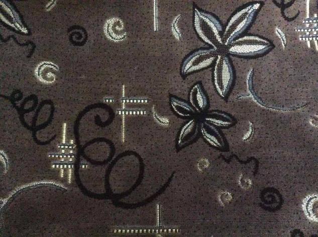 Покрывало полуторное из гобелена 145*200 Спиральки и цветы коричневого цвета, фото 2