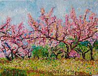 Картина «Ветер в весеннем саду» 60*80см, хост, масло