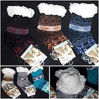 Детские зимние носочки на искусственном меху, стопперы, разные расцветки, 30-34 р-ры, 195/136