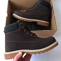 Мужские зимние ботинки Timberland 6 inch Brown Boots с мехом цигейки