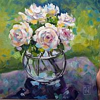"""Картины """"Розы в прозрачной вазе"""" 30*30см"""