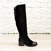 Ботфорты зимние женские черные замшевые на устойчивом каблуке. 36 размер