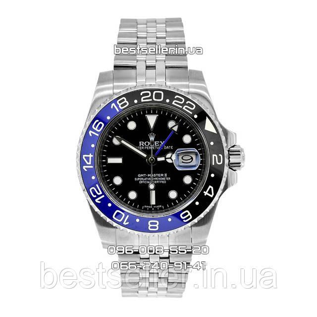 Годинник Rolex GMT Master II 40mm Silver/Black/Blue (Механіка). Клас: AAA.