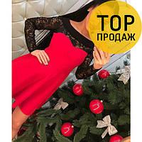 Женское платье миди, красного цвета  / с полиестером, с дорогим кружевом, 2018