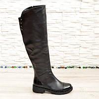 Ботфорты зимние женские черные кожаные на низком ходу. 36 размер