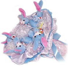 Букет из мягких игрушек Зайки 5 голубые