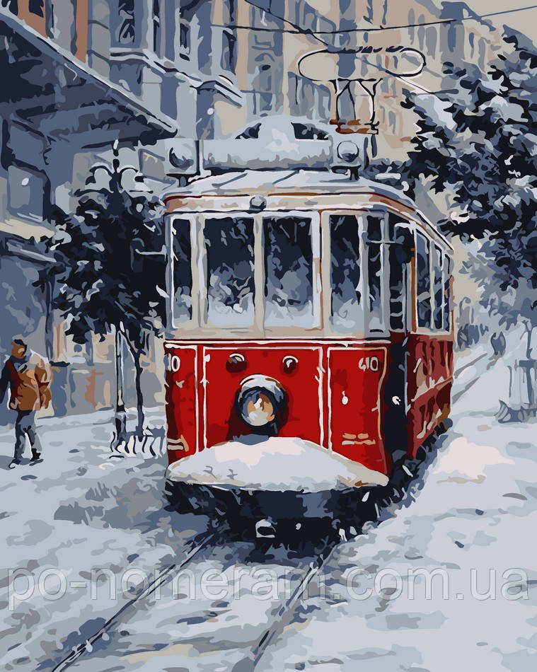 Раскраска для взрослых Заснеженный трамвай (AS0042) 40 х ...