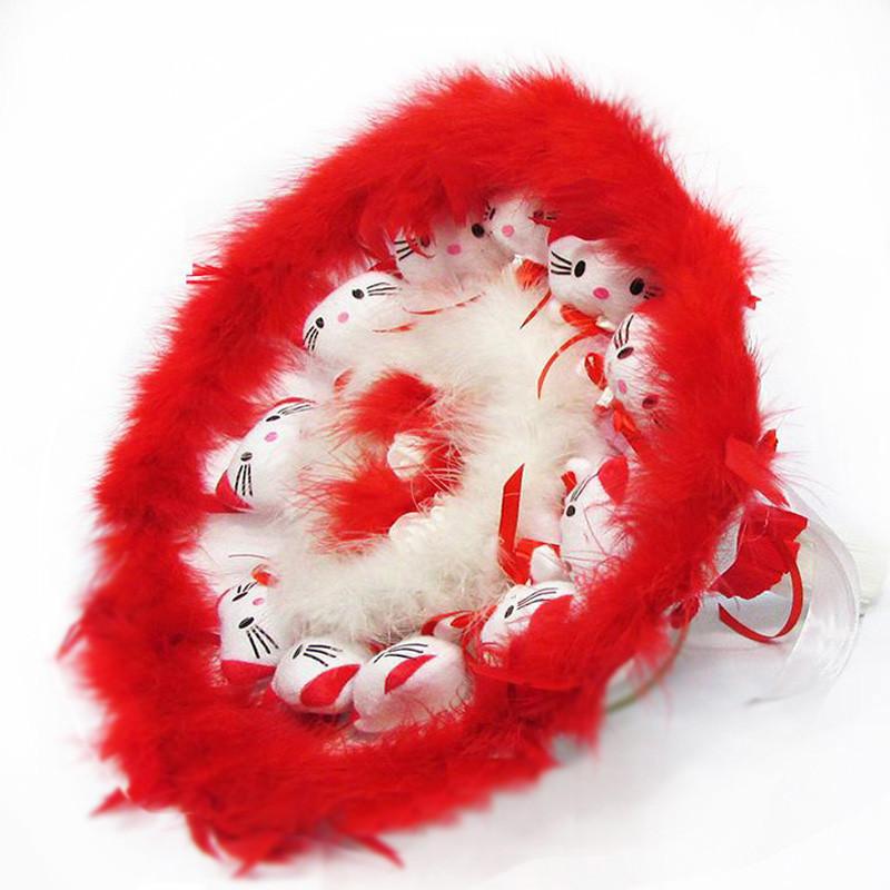 Букет из игрушек Котики 11 красный большой