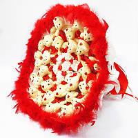 Букет из игрушек Мишки 31 красно-белый