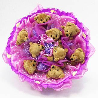 Букет из игрушек Мишки коричневые 9 сиреневый, фото 2