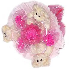 Букет из мягких игрушек Мишки бежевые 3 в розовом, фото 2