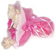 Букет из мягких игрушек Мишки бежевые 3 в розовом, фото 3