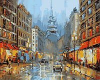 Картина раскраска Париж в сиянии фонарей (VP840) 40 х 50 см DIY Babylon