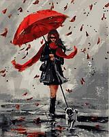 Раскраска для взрослых Прогулка в дождливый день (VP836) 40 х 50 см DIY Babylon