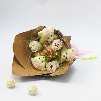 Букет из игрушек Мишки 3 в розовом с розами Крафт, фото 2