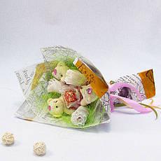 Букет из игрушек Мишки 3 в розовом с розами Крафт, фото 3