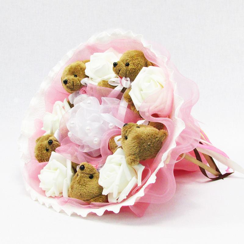 Букет из игрушек Мишки 5 коричневые в розовом