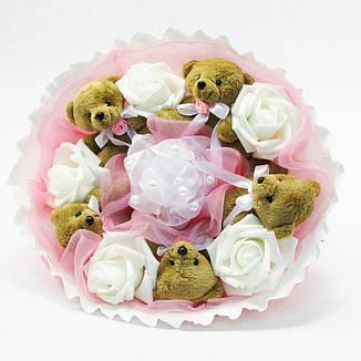 Букет из игрушек Мишки 5 коричневые в розовом, фото 2