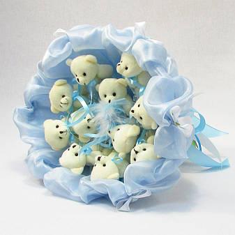 Букет из игрушек Мишки 11 небесно-голубой, фото 2