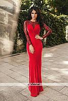 Элегантное велюровое платье в пол приталенного кроя верх гипюр со шлейфом, цвет красный