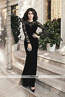 Элегантное велюровое платье в пол приталенного кроя верх гипюр со шлейфом, цвет черный