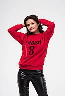 Женский свитшот OMNIA с бархатной надписью J'ADIOR