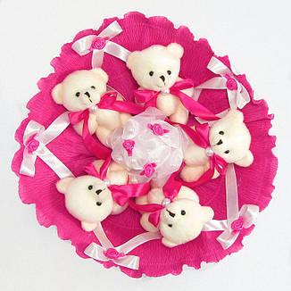 Букет из игрушек Мишки 5 малиновый, фото 2