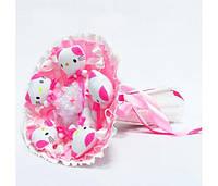 Букет из игрушек Котики 5 розовый