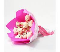 Букет из игрушек Мишки 9 розовый Крафт