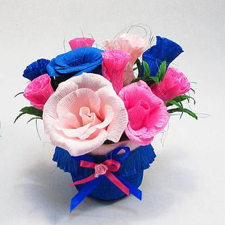 Букет из конфет Розы 11 розово-синий в горшочке, фото 2
