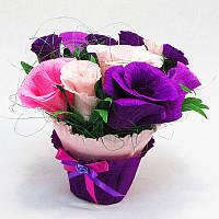 Букет из конфет Розы 11 фиолетовый в горшочке
