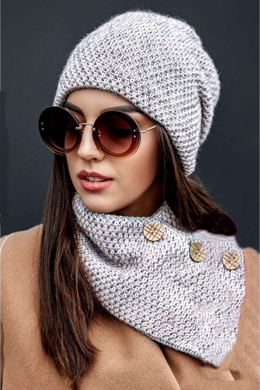 Зимняя женская вязаная шапка с хомутом на флисе, женские вязаные шапки оптом от производителя