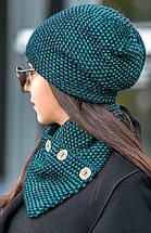Зимняя женская вязаная шапка с хомутом на флисе, женские вязаные шапки оптом от производителя, фото 3