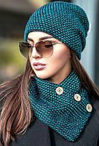 Зимняя женская вязаная шапка с хомутом на флисе, женские вязаные шапки оптом от производителя, фото 2