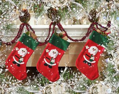 носок для подарков, рождественский сапожок, носок на  новый год