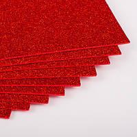 Фоамиран с блестками бордовый 10 листов (2мм/20x30см)