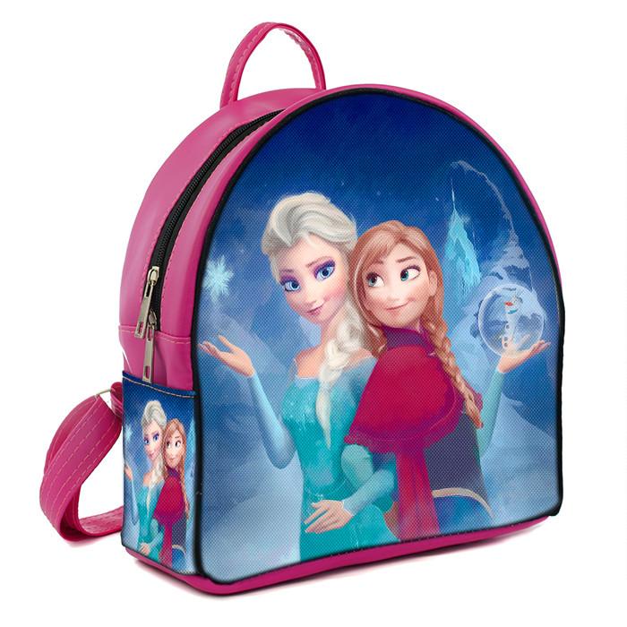 Розовый детский рюкзак для девочки с принтом Анна и Эльза