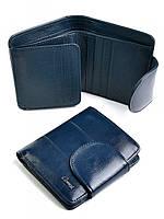Женский кожаный кошелек с широким хлястиком 202904 синий