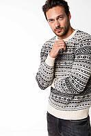 Светлый мужской свитер De Facto / Де Факто в черный рисунок