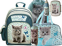 Рюкзак школьный с кошкой, комплект 6 шт.