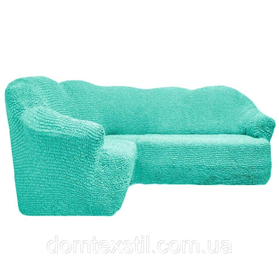 Чехол на угловой диван без юбки морская волна