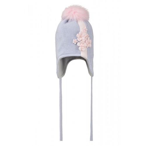 Детская шапка-ушанка для девочки украшена цветами, NIKOLA